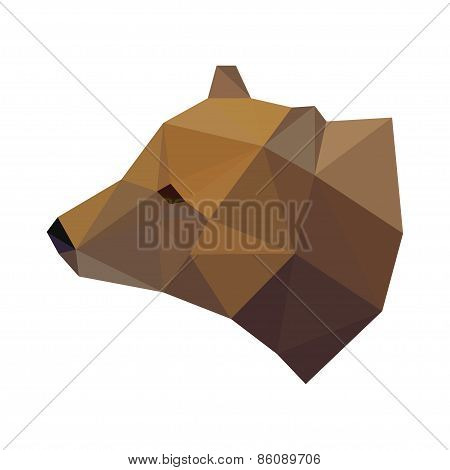 Abstract Polygonal Geometric Triangle Bear Head Isolated On White Background