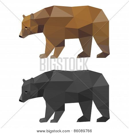 Abstract Polygonal Geometric Triangle Bear Set Isolated On White Background
