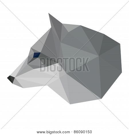 Abstract Polygonal Geometric Triangle Wolf Head Isolated On White Background