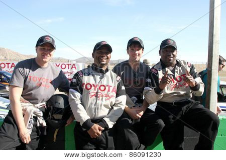 LOS ANGELES - FEB 21:  Brett Davern, Alfonso Ribiero, Nathan Kress, Mekhi Phifer at the TGPLB Pro/Celebrity Race Training at the Willow Springs Raceway on March 21, 2015 in Rosamond, CA