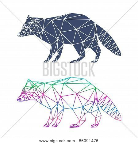 Abstract Geometric Raccoon Set Isolated On White Background