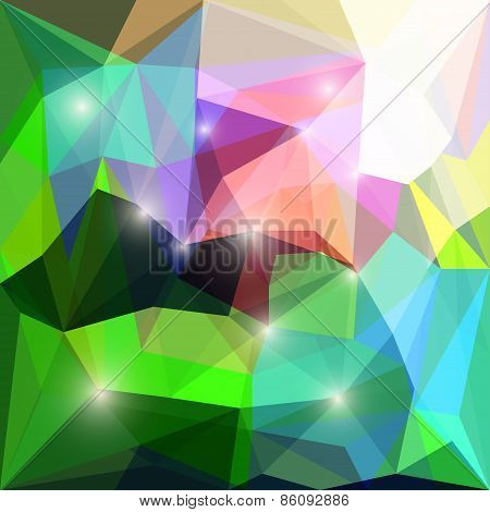 Abstract bright polygonal triangular geometric background with glaring lights for use in design