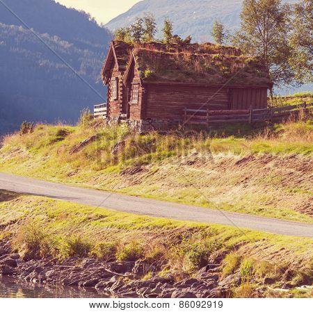 wooden fishing cabin in   Norway
