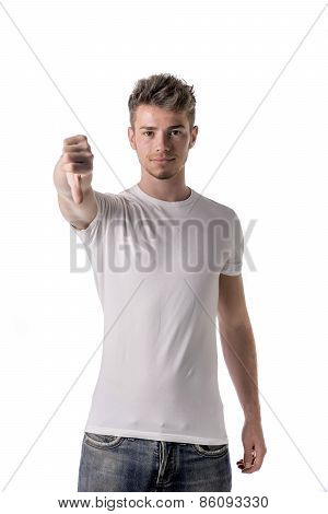 Handsome Blond Young Man Doing Thumb Down Sign