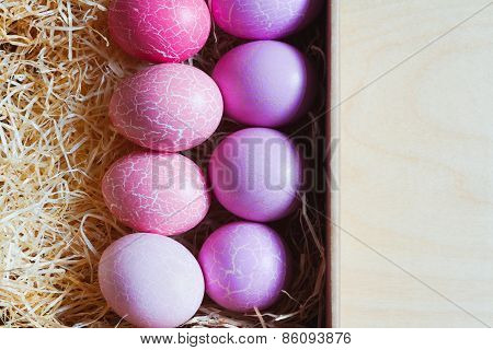 Easter Eggs On The Table, Top-view
