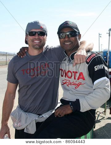 LOS ANGELES - FEB 21:  Joshua Morrow, Antron Brown at the Grand Prix of Long Beach Pro/Celebrity Race Training at the Willow Springs International Raceway on March 21, 2015 in Rosamond, CA
