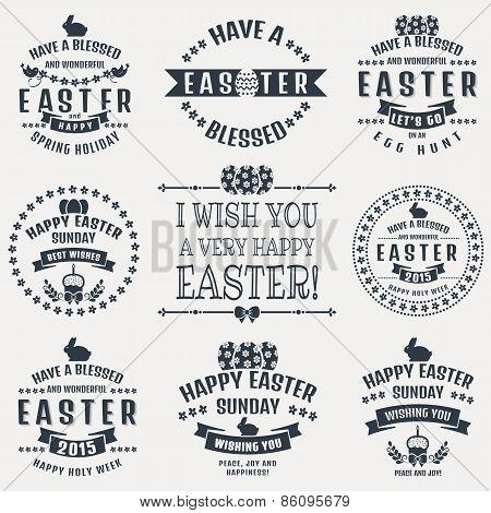 Easter Typography Badges. Vector Set.