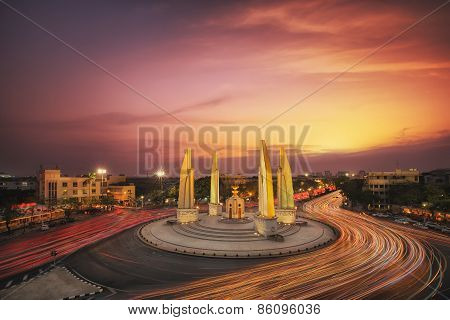 Moment Of Democracy Monument At Dusk
