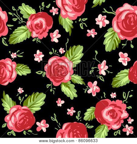 Roses ornament on black background. Seamless pattern.