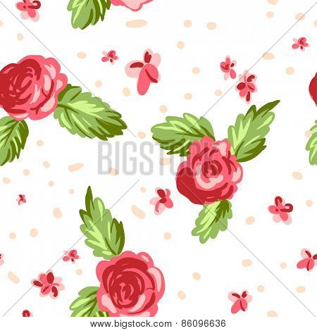 Vintage floral seamless pattern on white background. Hand drawn ethnic illustration.