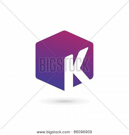 Letter K Cube Logo Icon Design Template Elements