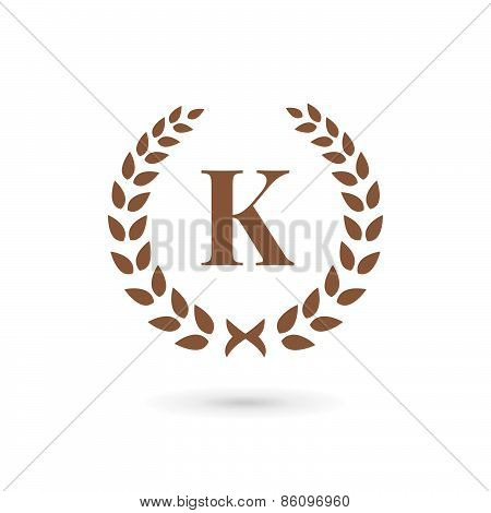 Letter K Laurel Wreath Logo Icon Design Template Elements