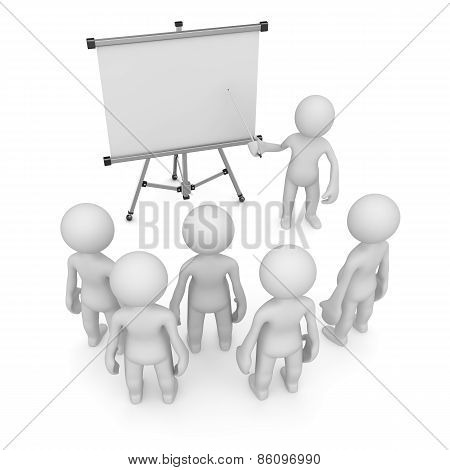 Teacher Pointing To Empty White Board