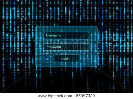 Conceptual Screen Matrix background with login window