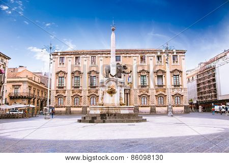Elephant fountain and Cathedral Square, Catania, Sicily, Italy