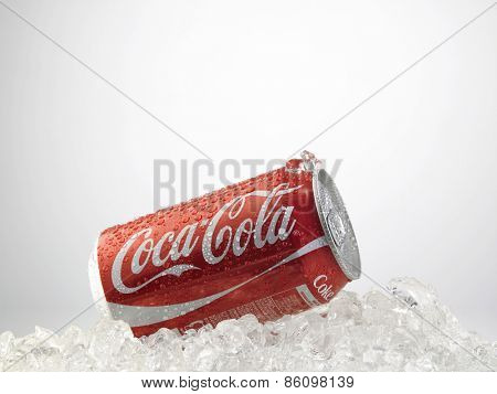 Kuala Lumpur-Malaysia : March 24,2015 Photo of a can of Coca-Cola. The brand is one of the most popular soda products in the world and it is sold almost everywhere