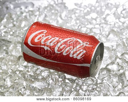 Kuala Lumpur-Malaysia : March 24,2015 Photo of a can of Coca-Cola . The brand is one of the most popular soda products in the world and it is sold almost everywhere