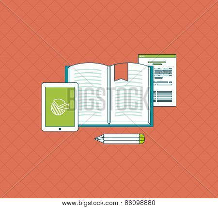 Flat design modern vector illustration icons set of education and e-learning.