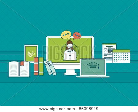 Set of flat design vector illustration concepts for online communication, education and social media