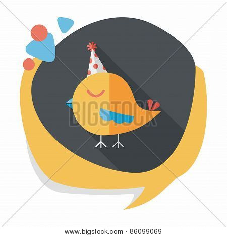 Bird With Birthday Hat Flat Icon With Long Shadow,eps10