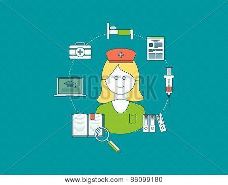 Flat design modern vector illustration concept for health care, medical help and training nurses