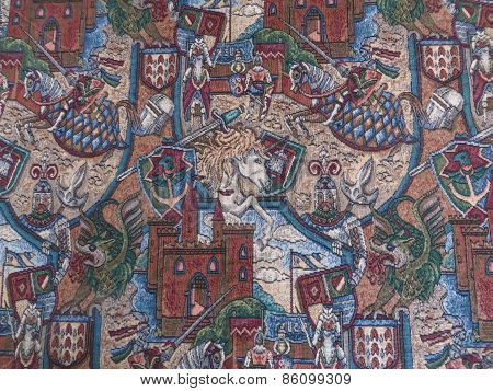 Medieval pattern tapestry material