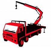 foto of boom-truck  - vector illustration of a truck mounted hydraulic crane cartage with hydraulic boom hoist done in retro style viewed from a high angle - JPG