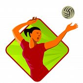 image of spike  - vector illustration of a volleyball player spiker spiking ball set inside diamond shape done in retro art deco style - JPG