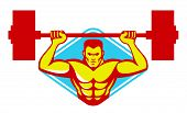 pic of muscle builder  - vector illustration of a weightlifter body builder lifting weights facing front set inside diamond shape done retro style - JPG