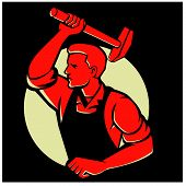 image of striking  - Illustration of a worker with hammer striking viewed from side done in retro style - JPG