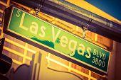image of las vegas casino  - Hanging Street Pole Las Vegas Boulevard Sign - JPG