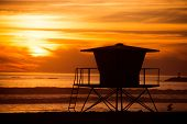 picture of lifeguard  - Lifeguard Tower Sunset Silhouette Scenery - JPG
