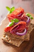 picture of crisps  - Crisp bread with salami and red onion - JPG