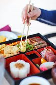 image of lunch box  - Delicious Japanese lunch bento box with rice - JPG