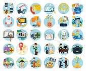 stock photo of accountability  - Set of flat icons of earnings - JPG