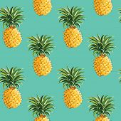 pic of pattern  - Tropical Pineapples Background  - JPG