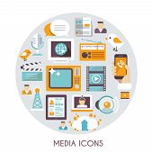 picture of mass media  - Mass media concept with social blog multimedia industry icons set vector illustration - JPG
