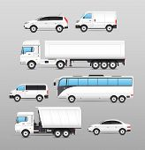 picture of motor-bus  - Realistic transport icons set with car van bus truck isolated vector illustration - JPG