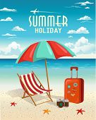 stock photo of aeroplane symbol  - Summer beach holiday vector retro background - JPG
