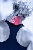 stock photo of muscle pain  - Hurting neck  - JPG