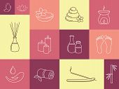 image of ayurveda  - Set of linear icons for SPA - JPG