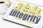 foto of integrity  - integrity word cloud on digital tablet with a cup of coffee - JPG