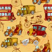 stock photo of covered wagon  - Vintage transport steampunk cars bikes transport colored seamless pattern vector illustration - JPG