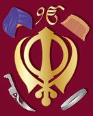 picture of khanda  - an illustration of the holy symbol of sikhism in gold with articles of sikh culture on a maroon background - JPG