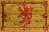 Постер, плакат: Royal Standard Of Scotland Flag Painted Old Oak Wood Fastened