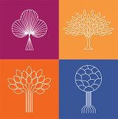 stock photo of nature conservation  - abstract organic tree line icons logo vectors  - JPG