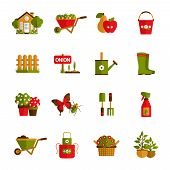 stock photo of pot plant  - Gardening icons set with farm house wheelbarrow fruit harvest and water pot isolated vector illustration - JPG