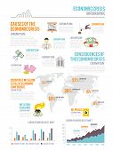 stock photo of collapse  - Economic crisis infographic elements set with charts and finance collapse symbols vector illustration - JPG