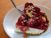 picture of crust  - Cheesecake with cherries on top and a graham cracker crust - JPG