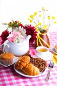 pic of continental food  - continental breakfast with cake and fruit tea - JPG